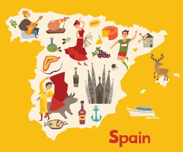 スペイン地図ベクトル。子供のためのスペインのイラスト マップ - スペイン料理点のイラスト素材/クリップアート素材/マンガ素材/アイコン素材