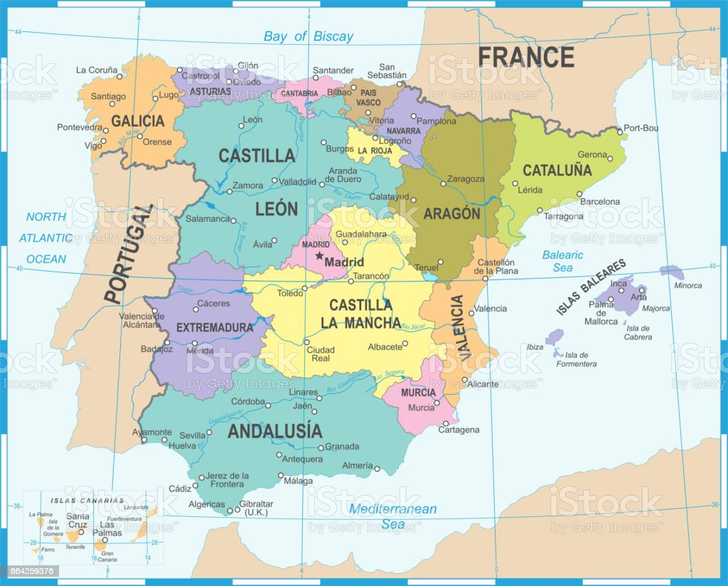 Spain Map Vector Illustration Stock Vector Art More Images Of