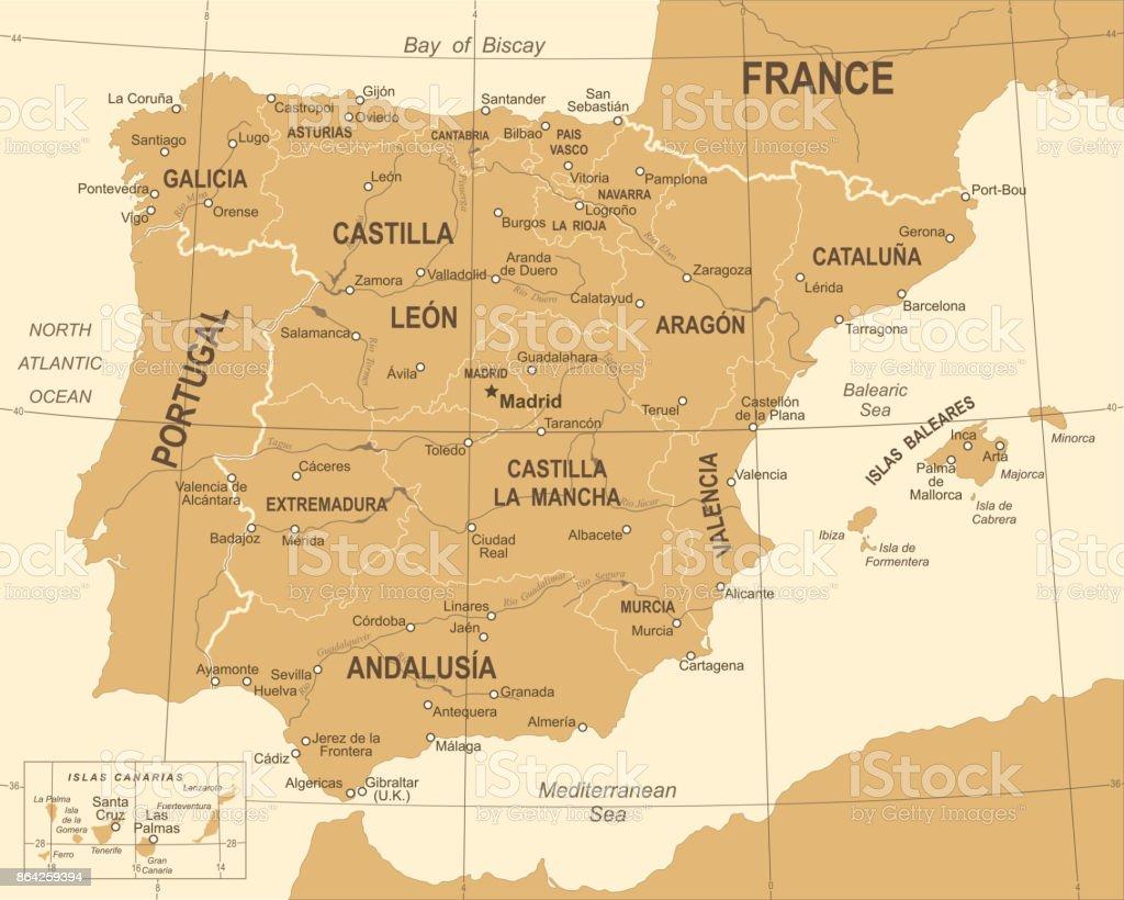 Spain Map - Vintage Vector Illustration royalty-free spain map vintage vector illustration stock vector art & more images of aragon