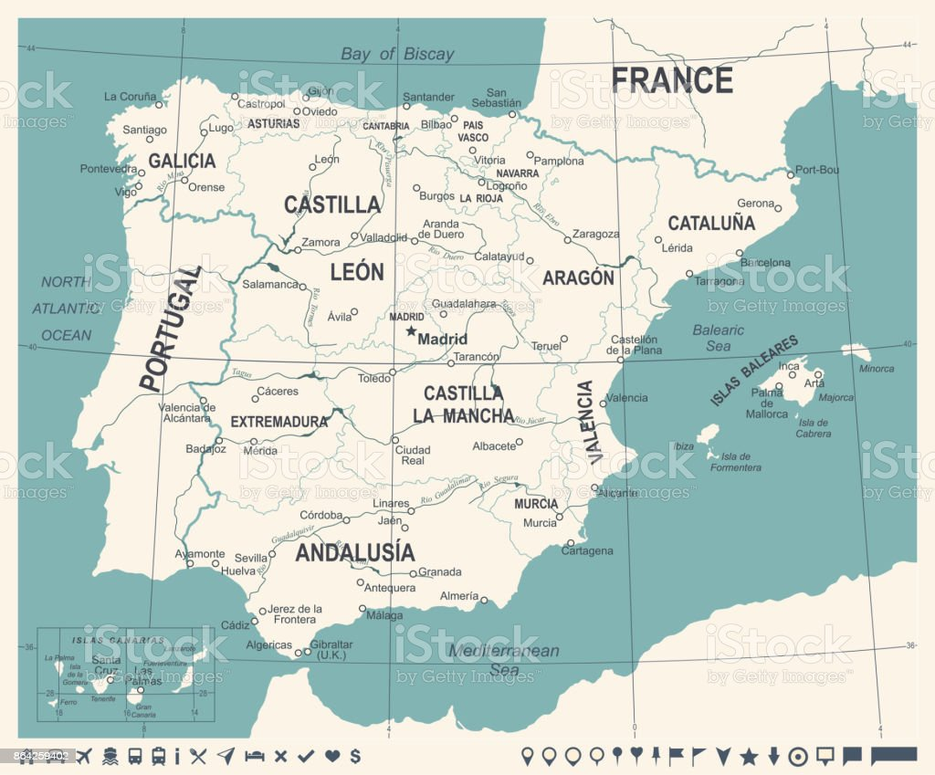 Spain Map - Vintage Vector Illustration royalty-free spain map vintage vector illustration stock vector art & more images of aragon
