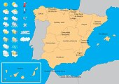 Map of spain with weather icons. Weather kit to publish meteorological predictions and forecast.