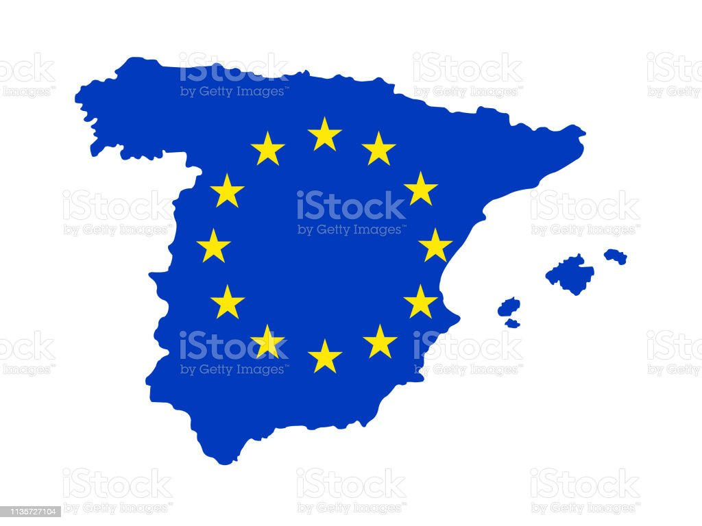 Picture of: Spain Map With European Union Flag Stock Illustration Download Image Now Istock