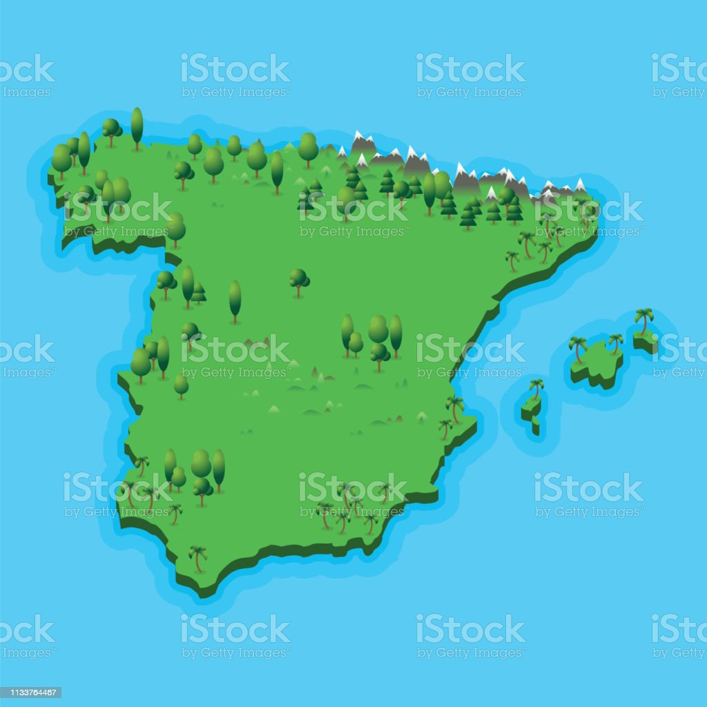 Spanish Map Of Spain.Spain Map With Geographic Landscape On Blue Sea Background