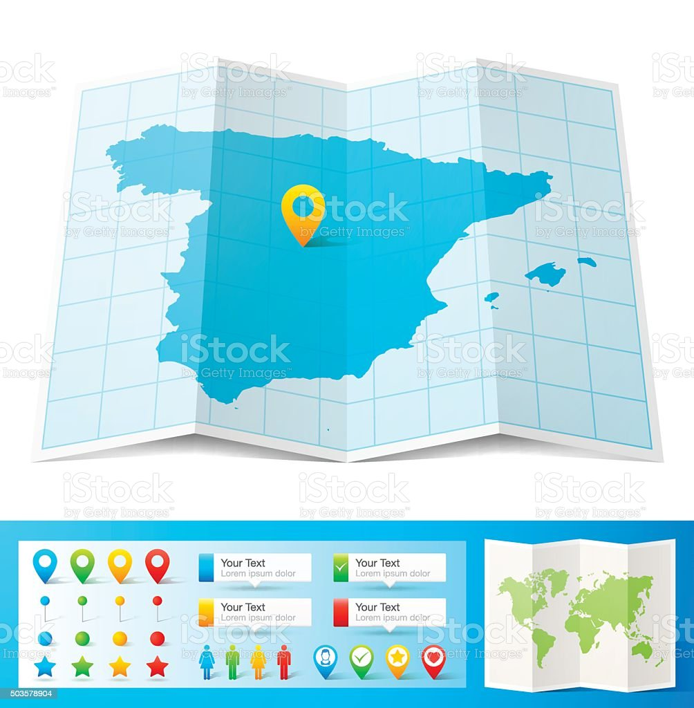 Spain Map with location pins isolated on white Background vector art illustration