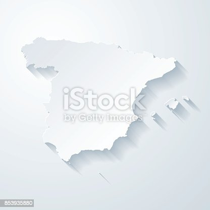 istock Spain map with paper cut effect on blank background 853935880
