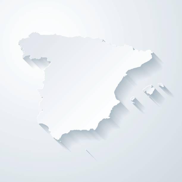 spanien karte mit papier geschnitten wirkung auf leeren hintergrund - spanien stock-grafiken, -clipart, -cartoons und -symbole