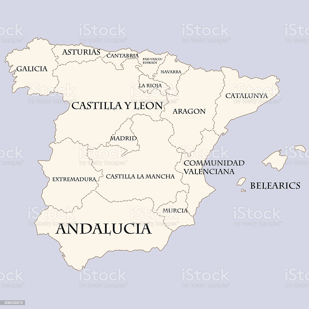 Spain Map With Regions Names stock vector art 508403373 | iStock