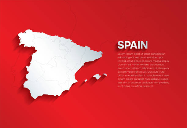 spanien karte mit schatten. schneiden sie papier isoliert auf rotem hintergrund. vektor-illustration. - spanien stock-grafiken, -clipart, -cartoons und -symbole