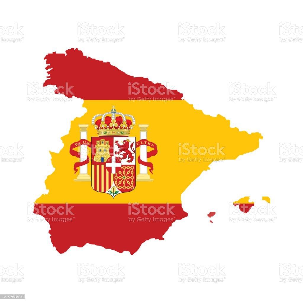 スペイン地図内スペイン フラグ付き ベクターアートイラスト