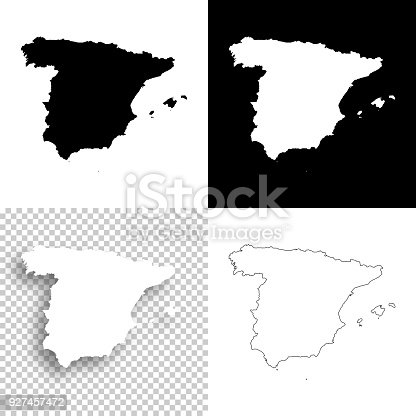 istock Spain maps for design - Blank, white and black backgrounds 927457472