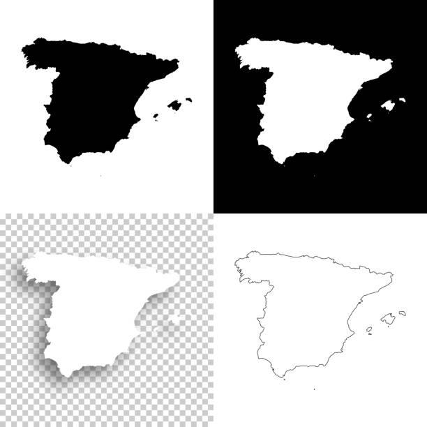 spanien-karten für design - leere, weiße und schwarze hintergründe - spanien stock-grafiken, -clipart, -cartoons und -symbole