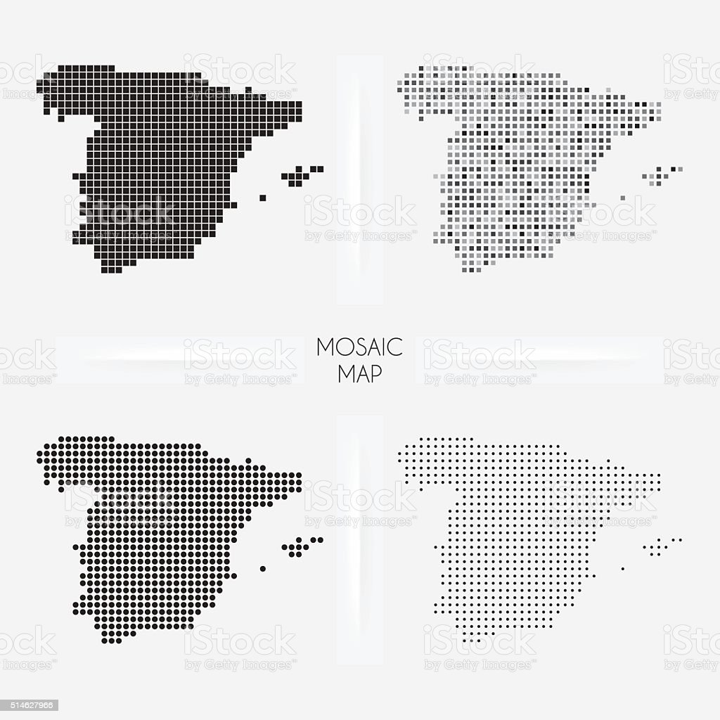 Spain maps - Mosaic squarred and dotted vector art illustration