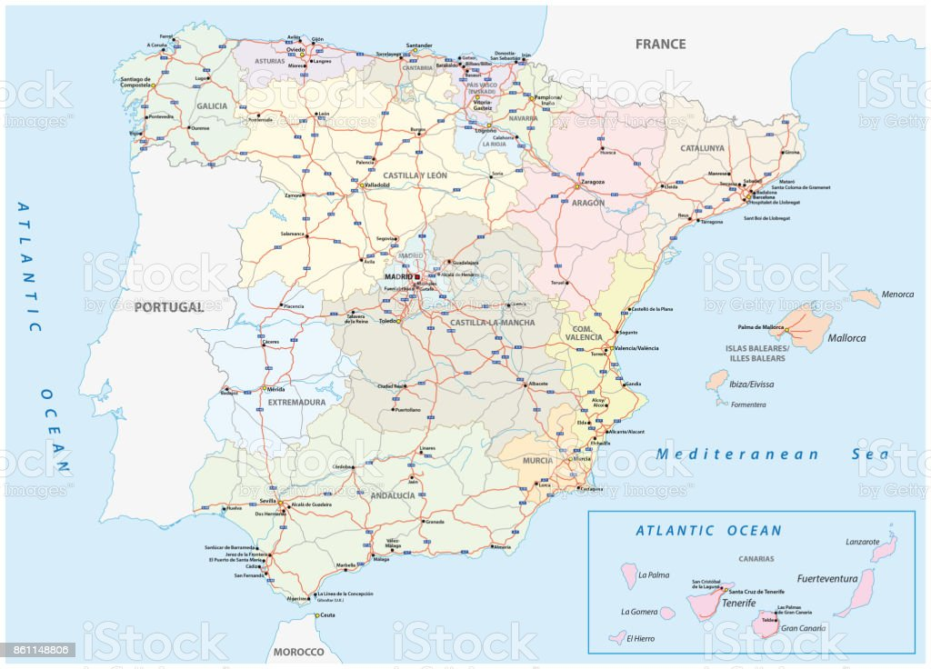 Road Map Of Spain.Spain Motorway And Road Map Stock Vector Art More Images Of