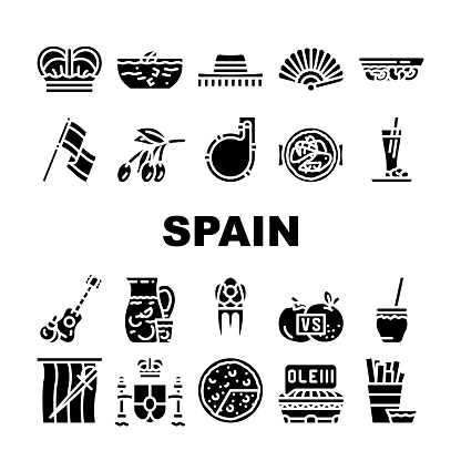 Spain Nation Heritage Collection Icons Set Vector