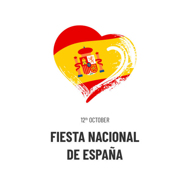 Spain National Day. October 12. Text, hand-drawn heart and symbol of country - flag isolated on white background. Illustration in Spanish. vector art illustration