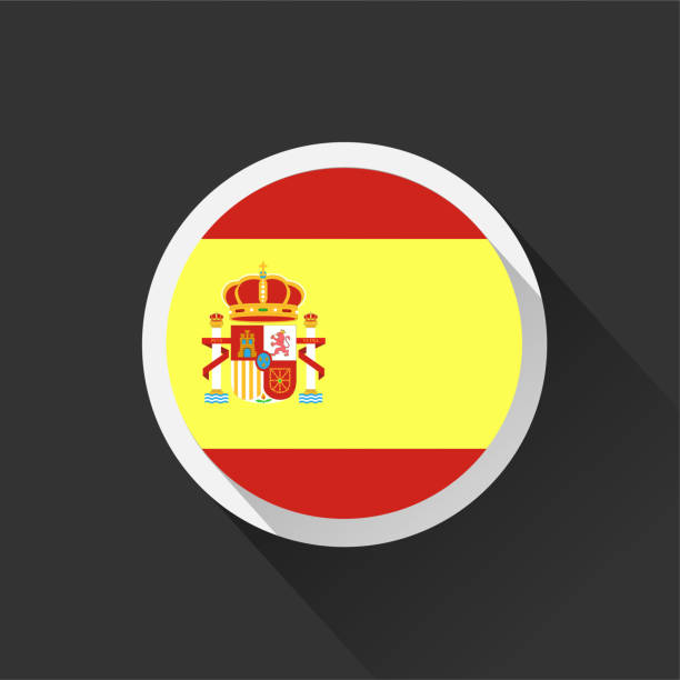 spain national flag on dark background. - spanish flag stock illustrations, clip art, cartoons, & icons