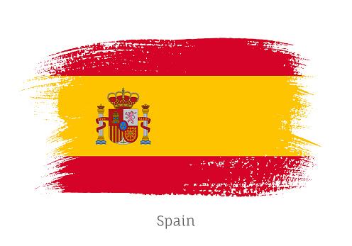 Spain official flag in shape of brush stroke