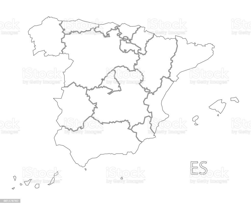 Mapa España Provincias Blanco.Ilustracion De Ilustracion De Mapa Espana Contorno Silueta