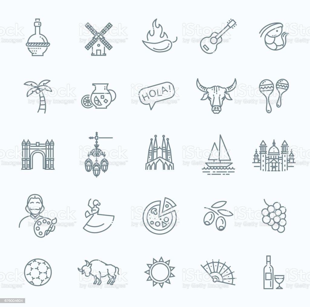 España indica conjunto de iconos - ilustración de arte vectorial