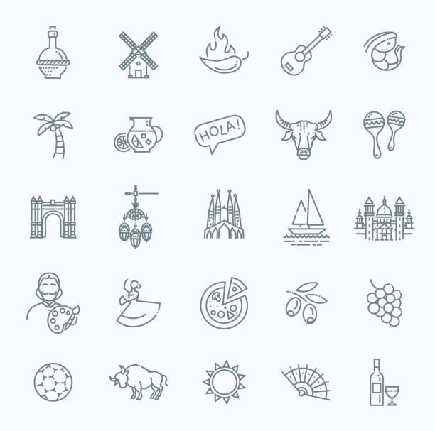 spanien beschriebenen icon-set - spanien stock-grafiken, -clipart, -cartoons und -symbole