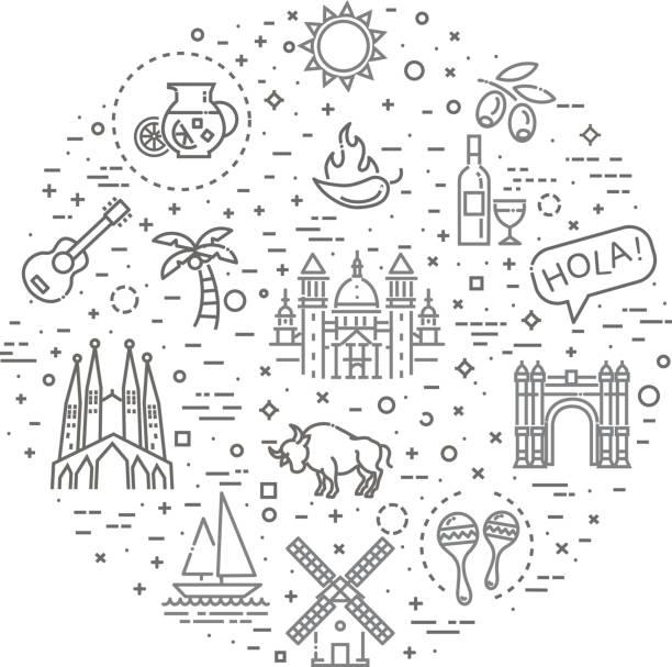 bildbanksillustrationer, clip art samt tecknat material och ikoner med spanien beskrivs ikonuppsättning - spain solar