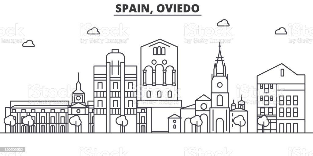 Spain, Oviedo architecture line skyline illustration. Linear vector cityscape with famous landmarks, city sights, design icons. Landscape wtih editable strokes vector art illustration