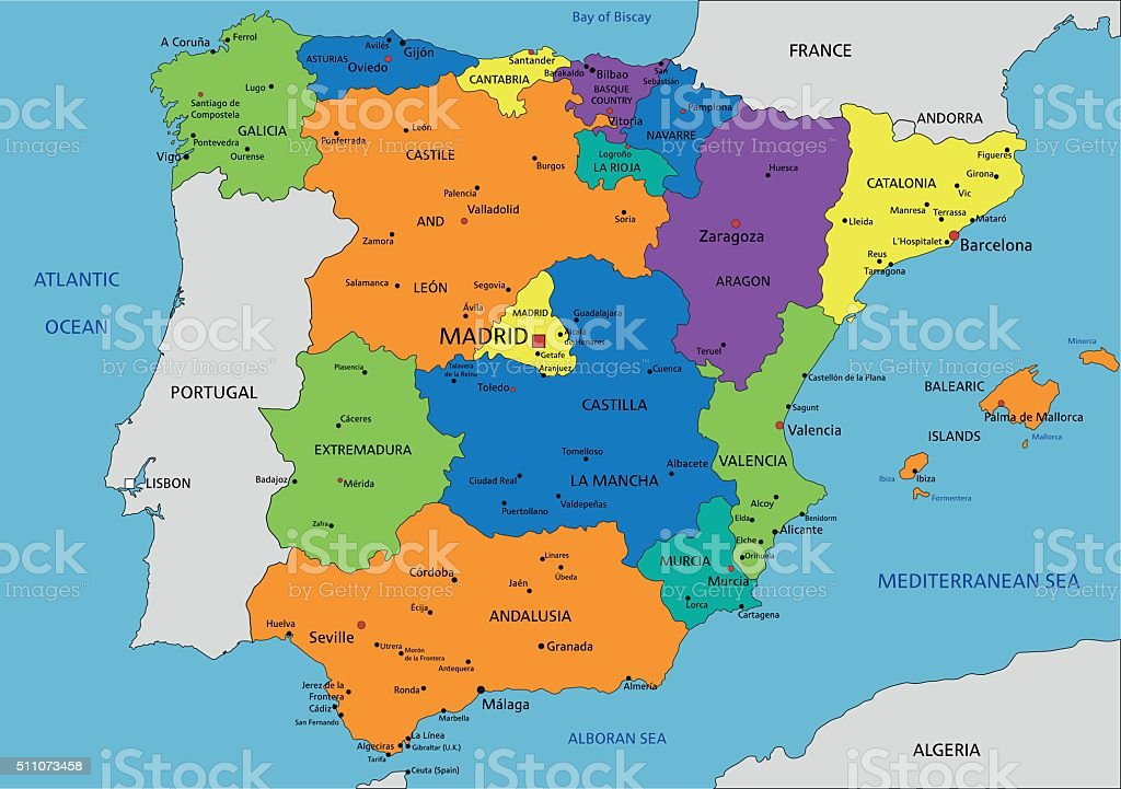 Spain Physcolorful Spain Political Map With Clearly Labeled