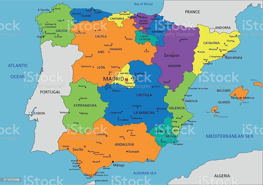 mapa politico de espanha Ilustração de Espanha Physcolorful Espanha Mapa Político  mapa politico de espanha