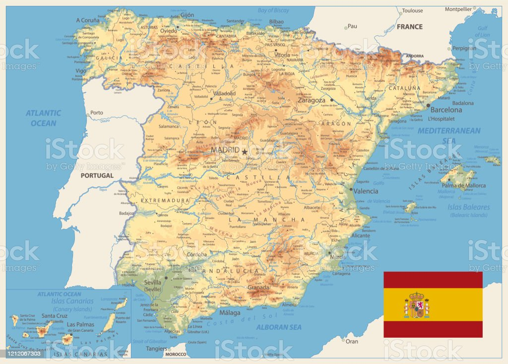 Image of: Spain Physical Map Retro Colors Stock Illustration Download Image Now Istock