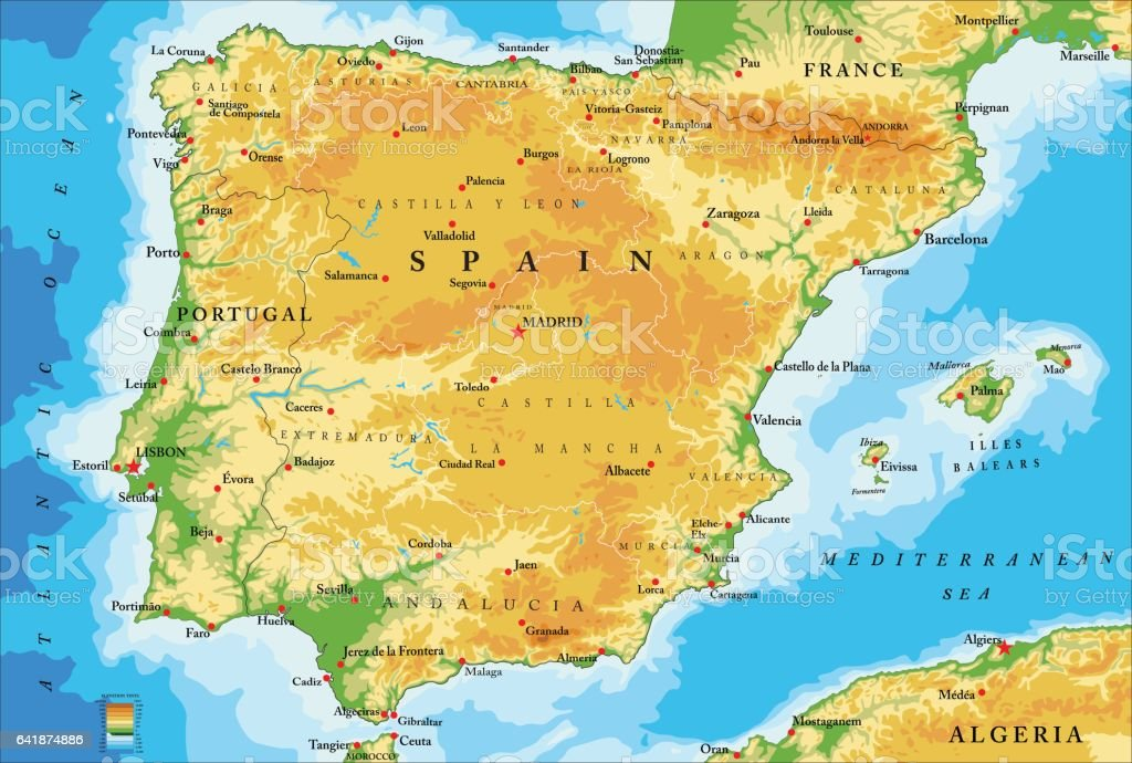 Spain physical map vector art illustration