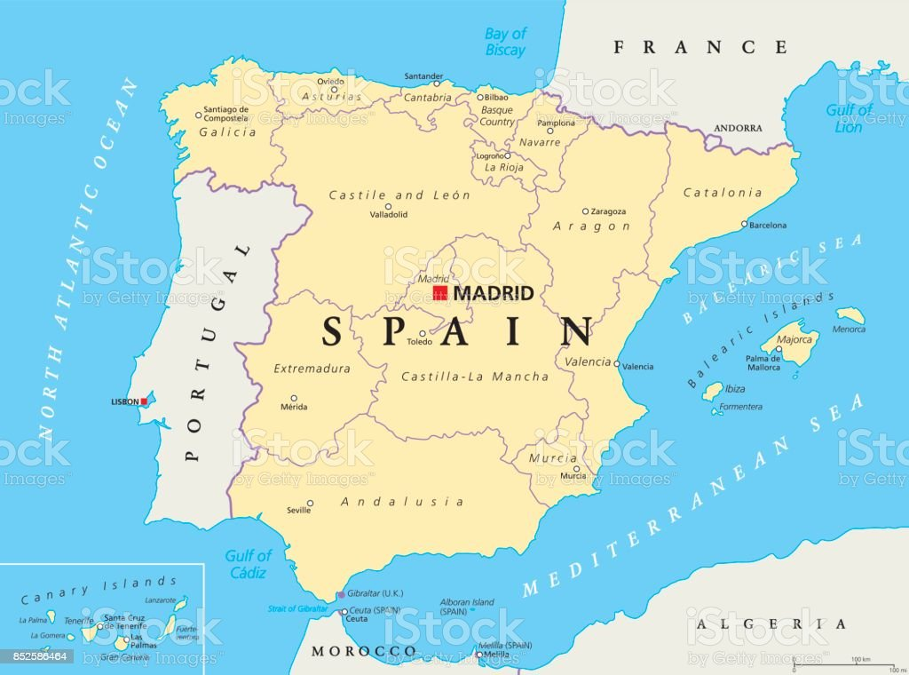 Map Of Spain Political.Spain Political And Administrative Divisions Map Stock Illustration