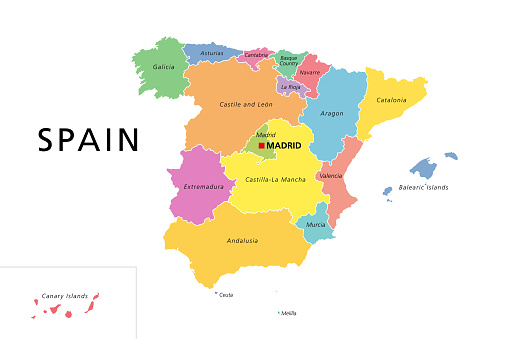 Spain political map with colored administrative divisions