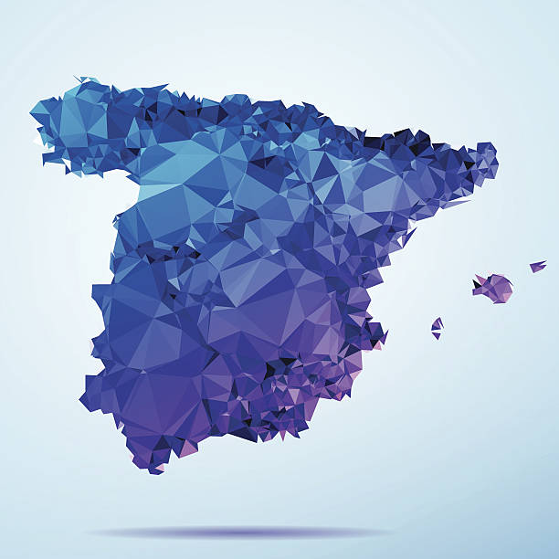 Spain Polygon Triangle Map Blue Abstract Polygon Triangle vector map of Spain. File was created in DMesh Pro and Adobe Illustrator on October 21, 2014. The colors in the .eps-file are in RGB. Transparencies used. Included files are EPS (v10) and Hi-Res JPG (5035 x 5035 px). map crystal stock illustrations