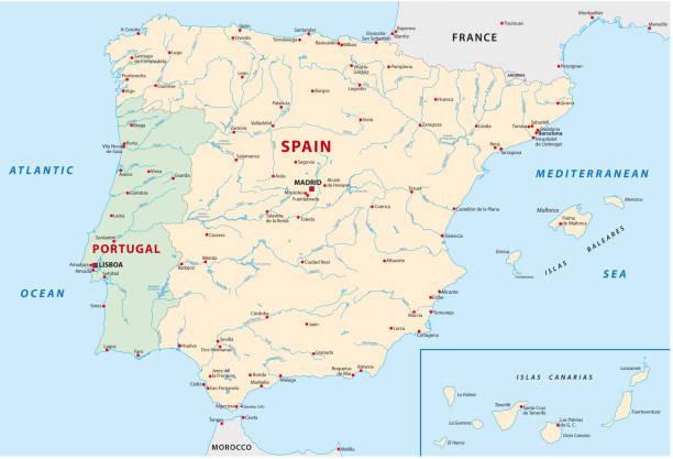 ilustrações de stock, clip art, desenhos animados e ícones de spain, portugal map - portugal map