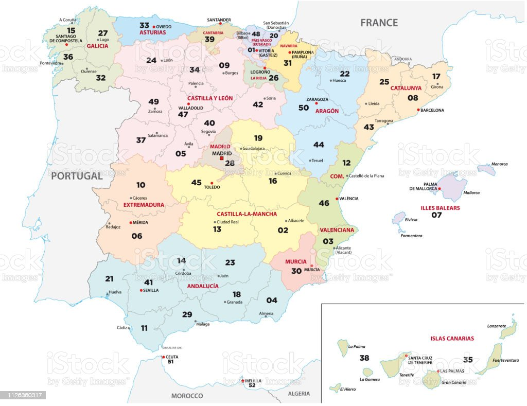 Map Of France Zip Codes.Spain Province Map With 2digit Zip Codes Stock Vector Art More
