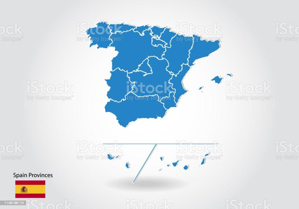 Provincias De España Mapa En Blanco.Ilustracion De Provincias De Espana Mapa Diseno Con Estilo