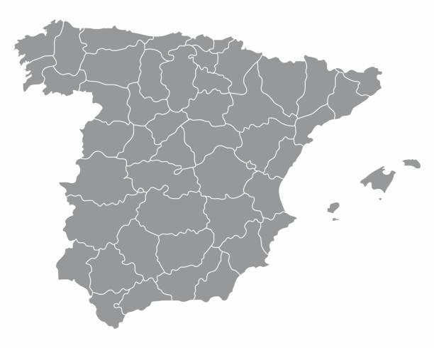 spanien regionen karte - spanien stock-grafiken, -clipart, -cartoons und -symbole