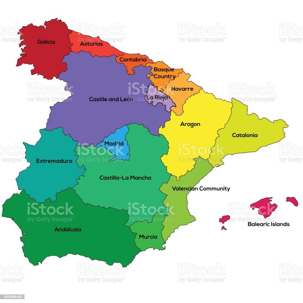 Spain regions. Vector illustration vector art illustration