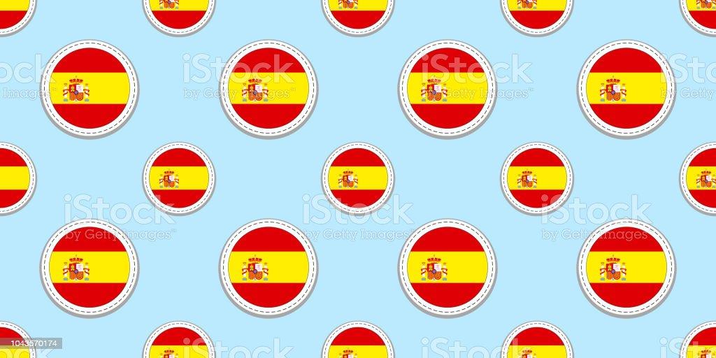 88794b37df9de España alrededor de patrones sin fisuras de la bandera. Fondo Español.  Iconos de vector