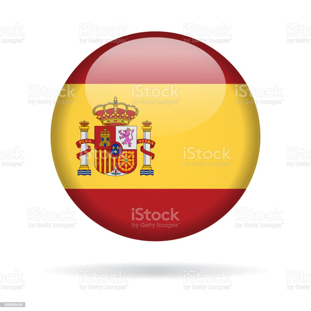 Spain - Round Flag Vector Glossy Icon vector art illustration