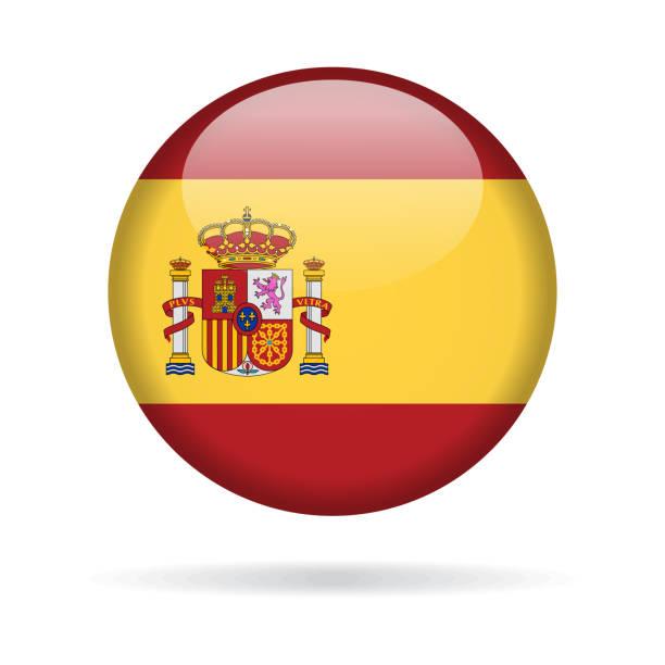 spain - round flag vector glossy icon - spanish flag stock illustrations, clip art, cartoons, & icons