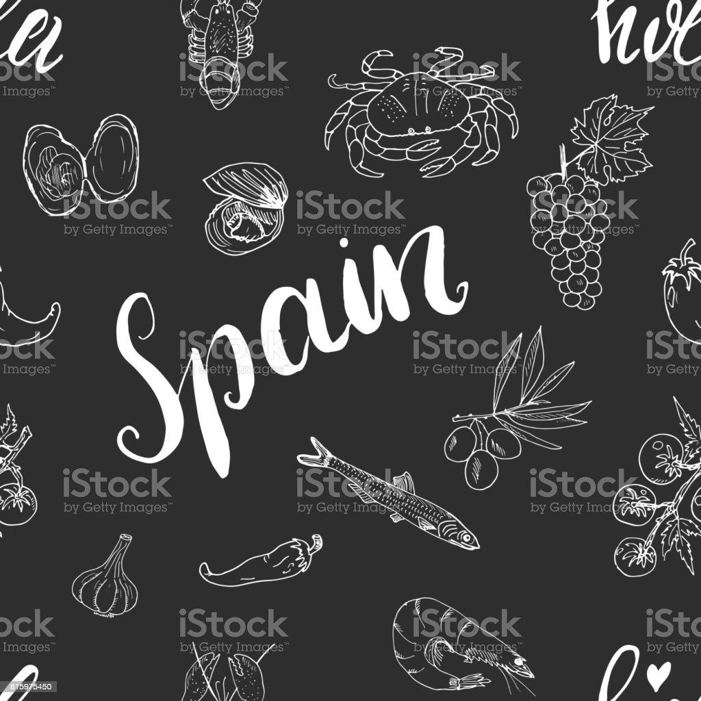 Elementos de doodle de patrones sin fisuras de España, de la mano bosquejo dibujado comida española camarones, aceitunas, uva, bandera e inscripción. Fondo de la ilustración del vector. - ilustración de arte vectorial