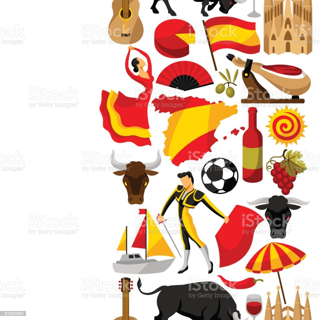 Patrón transparente de España. Objetos y símbolos tradicionales españoles - ilustración de arte vectorial