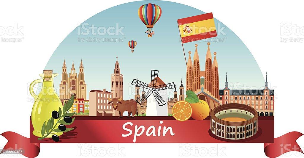 スペインの街並み ベクターアートイラスト