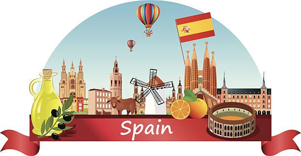 Spain Skyline vector art illustration
