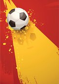Grunge soccer background of a football on the Spanish flag. Download includes EPS file and hi-res jpeg.