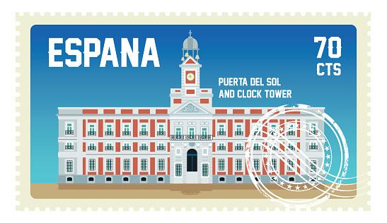 Spain Stamp, Puerta del Sol and Clock Tower