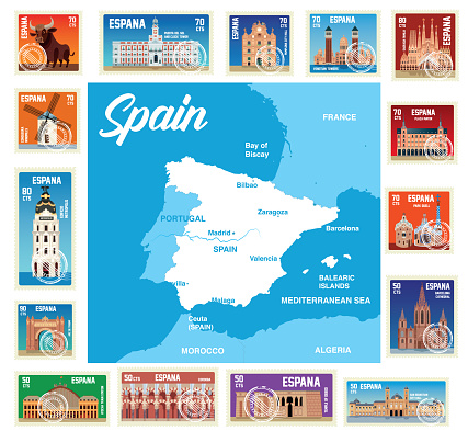 Spain Stamps and Map