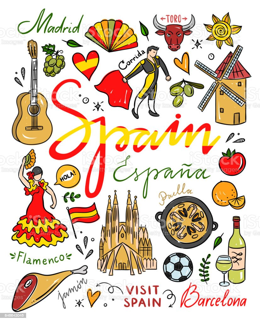 Spain Symbols And Illustrations Spain Hand Drawn Elements Visit