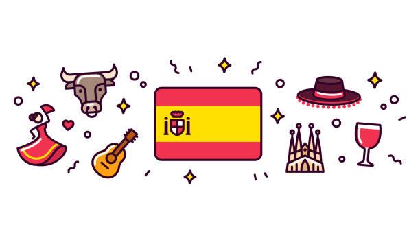 spanien-symbole-banner-abbildung - spanien stock-grafiken, -clipart, -cartoons und -symbole